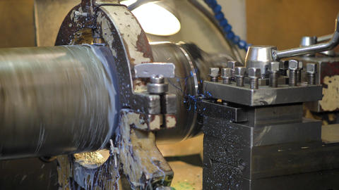 Production lathe removes metal chips Footage