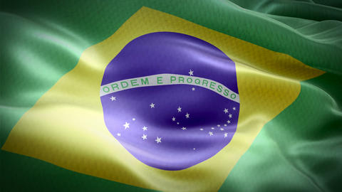 Realistic flag of Brazil waving with highly detailed fabric texture Live Action