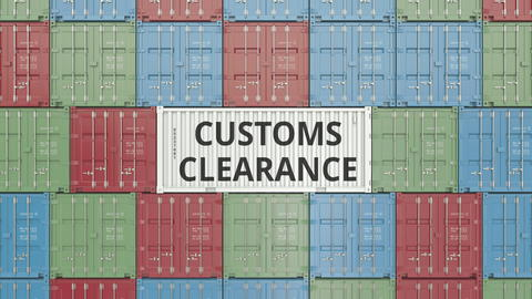 Container with CUSTOMS CLEARANCE text. 3D rendering Photo
