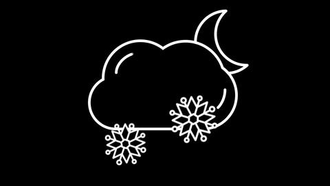 Night Cloud with Snow weather forecast line icon on the Alpha Channel Animation