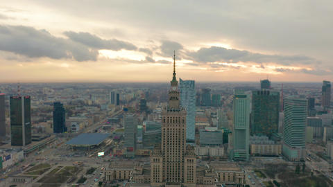 Palace of Culture and Science tower and Warsaw panorama, Poland. Aerial view Live Action