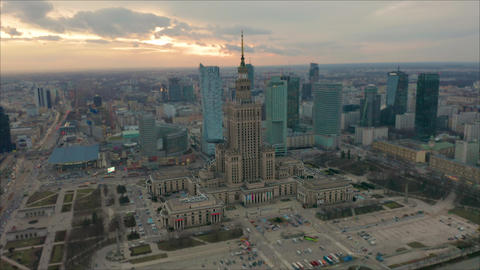 Busy Warsaw city centre with Palace of Culture and Science and other new Footage