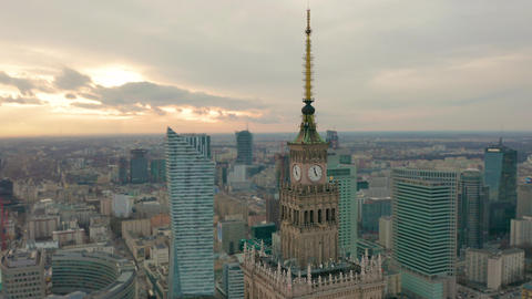 Palace of Culture and Science tower and Warsaw panorama, Poland. Aerial view Footage