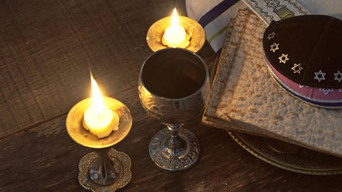 Pesach eve passover symbols of great Jewish holiday. traditional matzoh Live Action