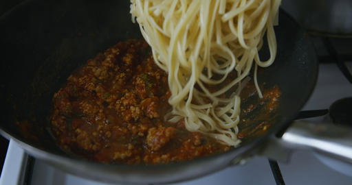 Mediterranean cuisine: tomato sauce and spaghetti Live Action