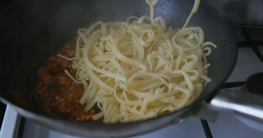 Mediterranean cuisine: tomato sauce and spaghetti Stock Video Footage