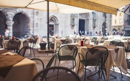 Outdoor Restaurant Seats on Sunny Day in Milan フォト