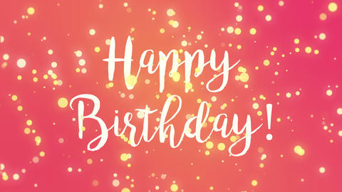 Pink yellow Happy Birthday greeting card Animation