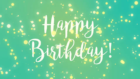 Teal blue yellow Happy Birthday greeting card Animation