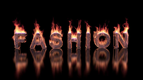 Fashion text burning in fire on glossy surface Animation