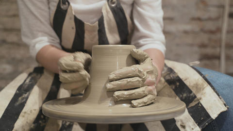 Close-up hands of female potter Footage