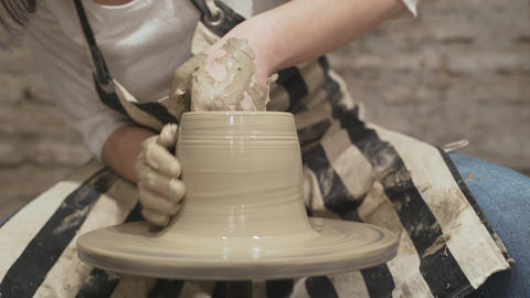 Close-up hands of female potter Stock Video Footage