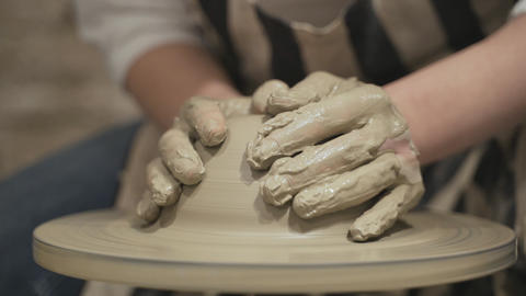 Close-up of potters hands Stock Video Footage