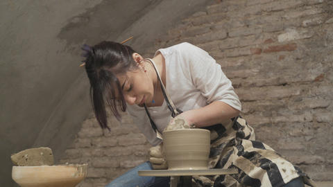 Girl potter at work Stock Video Footage
