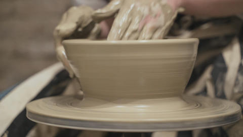 The potter has collapsed clay Stock Video Footage