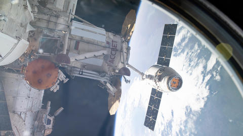 International Space Station - Circa January 2019: SpaceX Dragon spacecraft is GIF