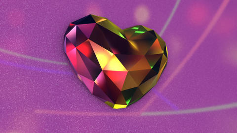 Beautiful Colorful Diamond Shaped Heart with Flickering Lights Archivo