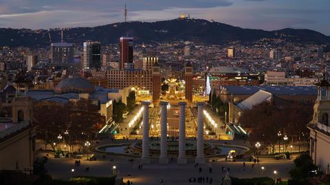 Barcelona night Placa De Espana, Square Of Spain, time lapse. Barcelona, Spain GIF