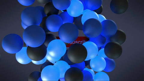 An Animation of Bouncing Blue and Black Balls Ending in a Subscribe Sign Video Title Screen Animation