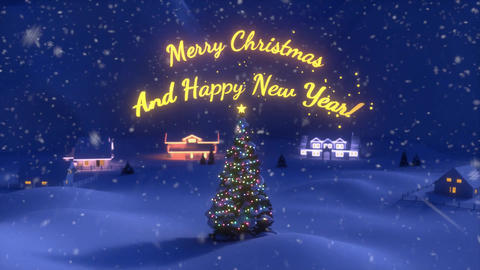 An Animation of Christmas Scene Ending With a Christmas Tree ana a Gold Lettered Sign Animation