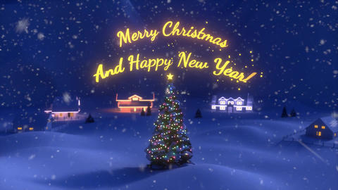 An Animation of Christmas Scene Ending With a Christmas Tree ana a Red and Gold Lettered Sign Animation