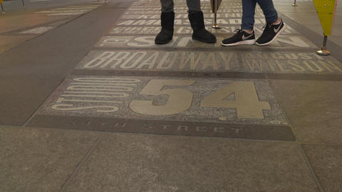 Low Angle View Of Peoples Feet In New York City stock footage