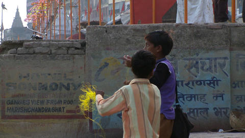 Boys flying kites and pulling string Footage