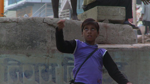 Front view of boy with kite string Footage
