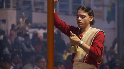 Brahmin Priest ringing bell Footage