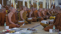 Monks waiting for start ceremony,Surin,Thailand Footage