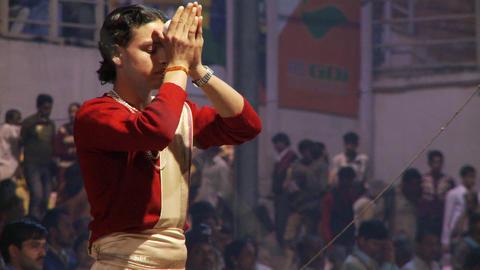 Brahmin Priests preparing Aarti ceremony Footage
