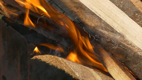 4K Ungraded: Wood Burning in Barbecue Grill on Picnic Live Action