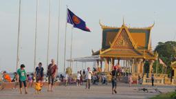 Riverside walk ,Phnom Penh,Cambodia Footage