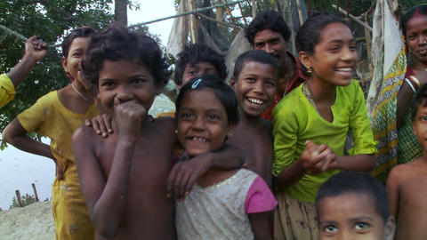 Kids in jungle laugh act camera in India Live Action