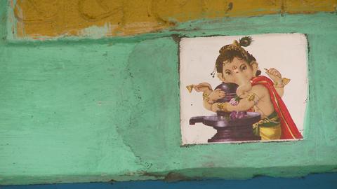 Closeup of tile of Ganesh the elephant god Footage