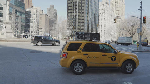 People get into a taxi in New York City Footage