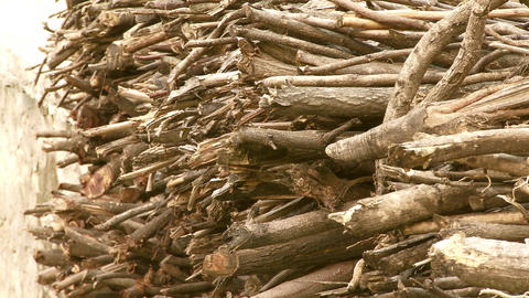 View of stacks of sticks in India Footage