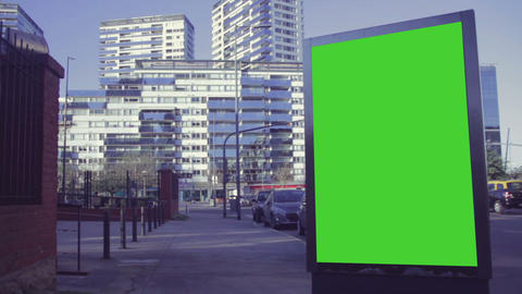 City Billboards With Green Screen