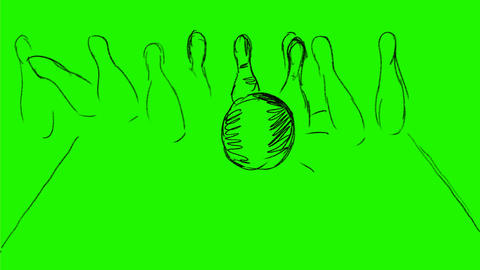 Ten Pin Bowling Strike Drawing 2D Animation Animation
