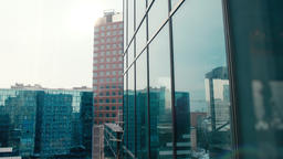 View on Cityscape from Skyscraper Building from Glass with Panoramic Windows Footage