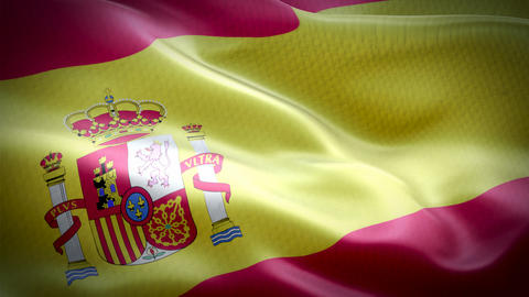 Realistic flag of Spain waving with highly detailed fabric texture Live Action
