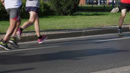 Marathon run slow motion moves Footage