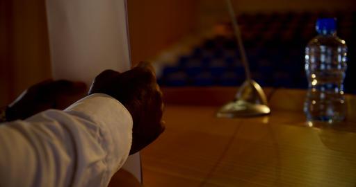Senior African American businessman practicing speech in empty auditorium 4k Live Action