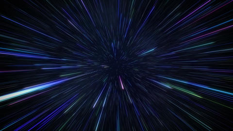 Starfields in space with hyper speed jump into another galaxy background CG動画素材