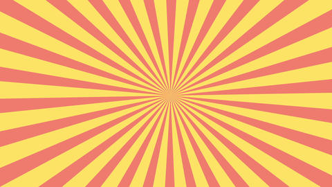 Red and yellow sunburst circle and background pattern animation.Colored back Pop Art Style yellow Animation