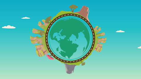 planet with nature landscape on around. Motion video for web banner, web and mobile, Animation