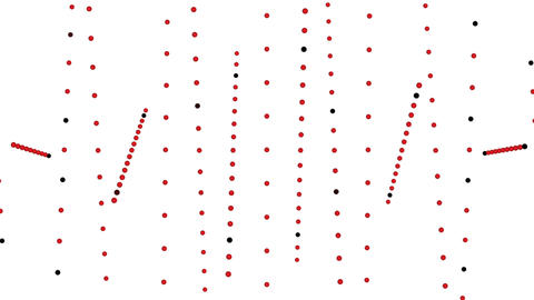 abstract red dots pattern random rotation on white background motion Footage