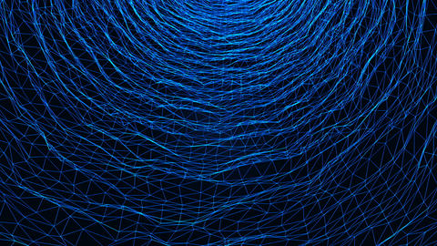 Wireframe water simulation effect on dark background motion video.Abstract water flow on dark Live Action