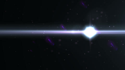 Anamorphic blue lens flare isolated on black background for overlay design or screen blending mode Live Action