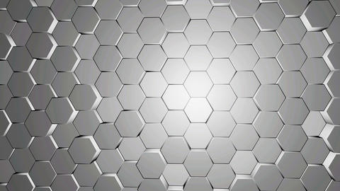 White And Grey Hexagon Background Texture motion video. 3d render hexagon moving Animation